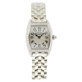 Franck Muller Cintree Curvex 18K White Gold Diamond Womens Watch