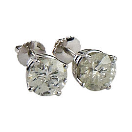 14K White Gold with 2.50ct Round Brilliant Diamond Stud Earrings
