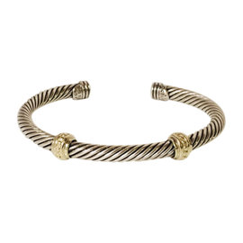 David Yurman Sterling Silver and 14K Yellow Gold Two Station Cable Cuff Bracelet