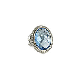 David Yurman Sterling Silver .48tcw Oval Blue Topaz Diamond Ring