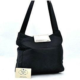 PRADA Nylon Hand Bag Black A0432