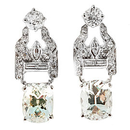 Vintage Deco Platinum with 4.53ct Aquamarines and Diamond Hinged Earrings