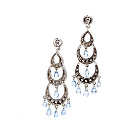 18K White Gold with Lavender Sapphire & 1.00ct Diamond Chandelier Earrings