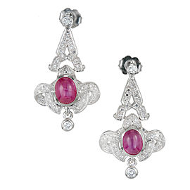 Platinum Star Ruby and Diamond Drop Earrings