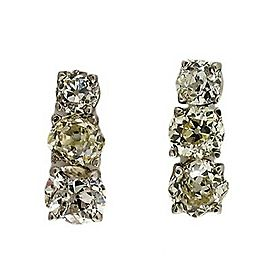 Antique 4.68 Triple Old Mine Cushion Cut Diamond Platinum Basket Dangle Earrings