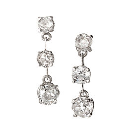 Estate 1900 Platinum Old Mine Diamond Thin Bar Style 3 Dangle Earrings 2.43ct