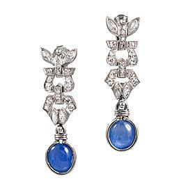 Art Deco Platinum 4.75ct Sapphire & Diamond Pierced Earrings