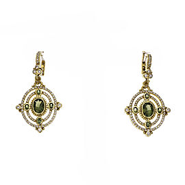 Judith Ripka Green Tourmaline Dangle Earrings Diamond 18k Gold
