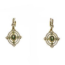 Judith Ripka Green Tourmaline Dangle Earrings Diamond 18k Gold