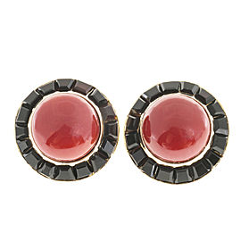 18K Yellow Gold Red Coral & Black Onyx Earrings