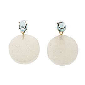 14K Yellow Gold Aquamarine Quartz Druzy Dangle Earrings