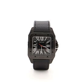 Cartier Santos 100 Carbon Automatic Watch Watch ADLC Stainless Steel and Fabric Leather 41