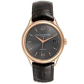 Baume Mercier Clifton 18k Rose Gold Grey Dial Mens Watch 10059