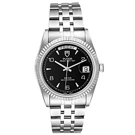 Tudor Prince Day Date Black Dial Steel Mens Watch