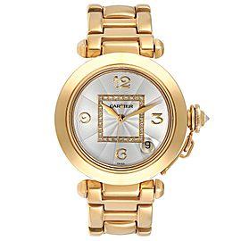 Cartier Pasha GMT 35mm 18K Yellow Gold Diamond Ladies Watch WJ1110H9