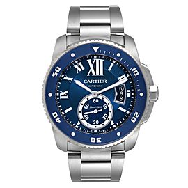 Cartier Calibre Diver Stainless Steel Blue Dial Mens Watch WSCA0011