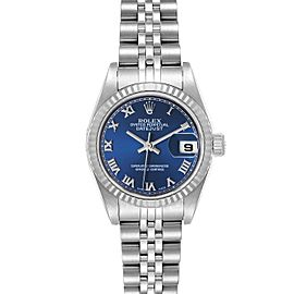 Rolex Datejust 26 Steel White Gold Blue Dial Ladies Watch 79174 Box Papers