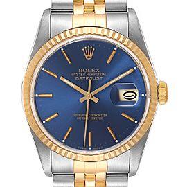 Rolex Datejust Steel Yellow Gold Blue Dial Mens Watch 16233