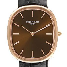 Patek Philippe Golden Ellipse Rose Gold Brown Dial Watch 3738