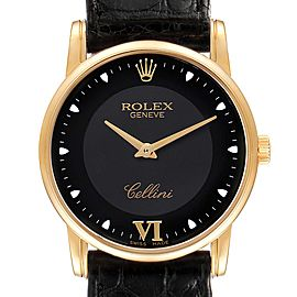 Rolex Cellini Classic Yellow Gold Black Dial Mens Watch 5116