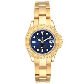 Rolex Yachtmaster 29 Yellow Gold Blue Dial Ladies Watch 69628 Box Papers
