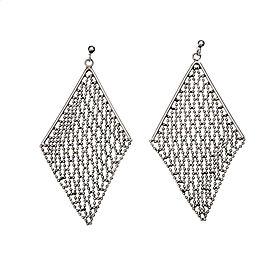 Platinum Dangle Faceted Bead Earrings Mesh