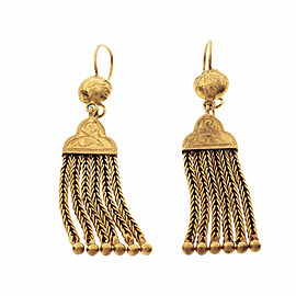 1930 Victorian Revival Tassel Dangle Earrings 15k Yellow Gold English