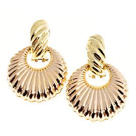 18K Rose & Green Gold Dangle Clip Post Earrings
