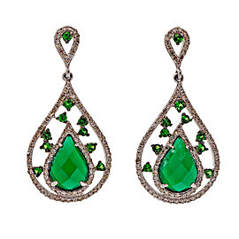 Divani 14K White Gold Green Agate, Tsavorite Garnet & Diamond Dangle Earrings