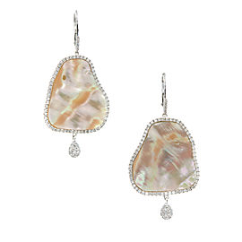 Meira T 14K White Gold Mother Of Pearl Slice & Diamond Dangle Earrings