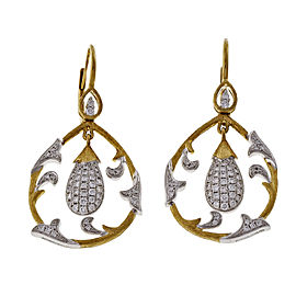 18K Yellow and White Gold .75ct Diamond Dangle Earrings