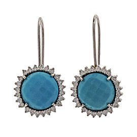 Piero Milano 18K White Gold Turquoise & Diamond Earrings