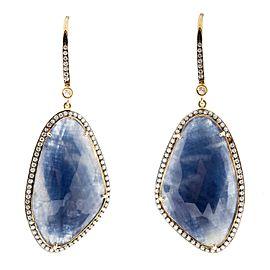 18K Yellow Gold Sapphire and Diamond Slice Earrings