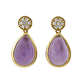 18k Yellow Gold Amethyst Mother Of Pearl Diamond Dangle Earrings