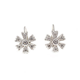 Doris Panos 18K White Gold .30ct Diamond Flower Earrings