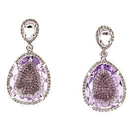 14K Rose Gold Amethyst and Diamond Dangle Earrings