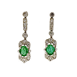 14K White Gold 0.66ct Emerald & 0.15cts Diamond Dangle Earrings