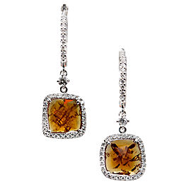 14K White Gold Citrine and Diamond Dangle Earrings