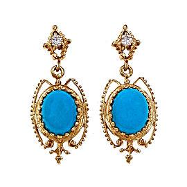 Vintage 14K Yellow Gold Turquoise Diamond Earrings