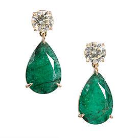 18K Yellow Gold Emerald and Diamond Dangle Earrings