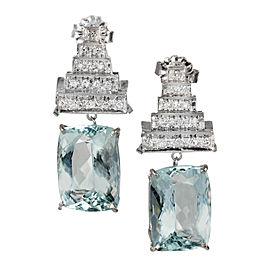 Vintage Platinum Dangle Aquamarine Diamond Top Earrings