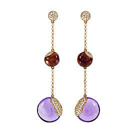 18K Rose Gold Amethyst & Diamond Dangle Earrings
