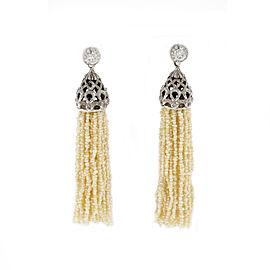 14K White Gold Diamonds & Seed Pearl Tassel Dangle Earrings