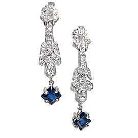 Platinum Art Deco Sapphire Dangle Diamond Earrings