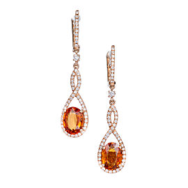 14K Rose Gold Diamond Spessartite Garnet Dangle Earrings