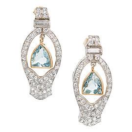 Platinum and 14K Yellow Gold Aquamarine and Diamonds Dangle Earrings