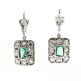 Platinum Diamond Columbian Emerald Dangle Earrings