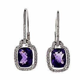 14k White Gold Cushion Shape Purple Amethyst Halo Dangle Earrings