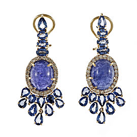 18K Rose Gold Tanzanite Sapphire Diamond Dangle Earrings