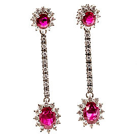 14K White Gold Oval Ruby & White Diamond Hinged Dangle Earrings